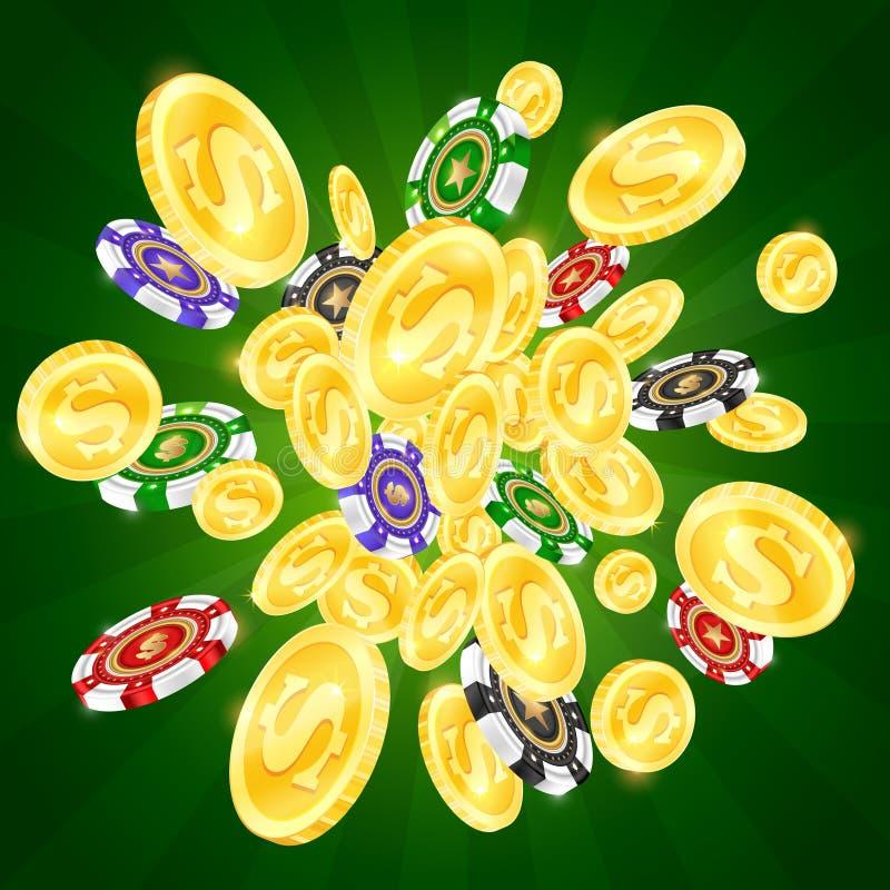 Χρυσά νομίσματα και χρωματισμένα τσιπ χαρτοπαικτικών λεσχών απεικόνιση αποθεμάτων