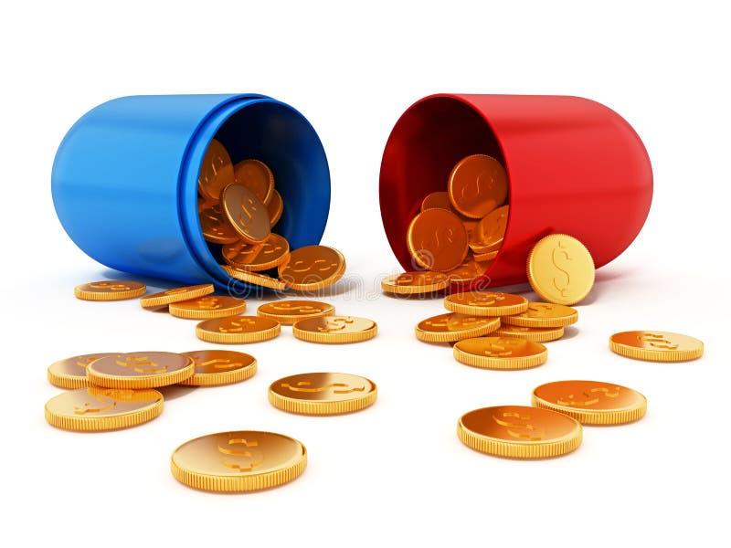 Χρυσά νομίσματα μέσα στο ανοικτό κόκκινο και μπλε χάπι τρισδιάστατη απεικόνιση απεικόνιση αποθεμάτων