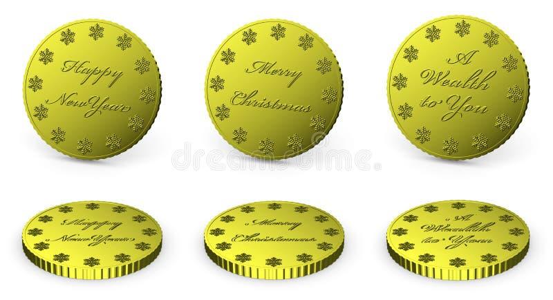 Χρυσά νομίσματα με τις επιθυμίες καθορισμένες απεικόνιση αποθεμάτων