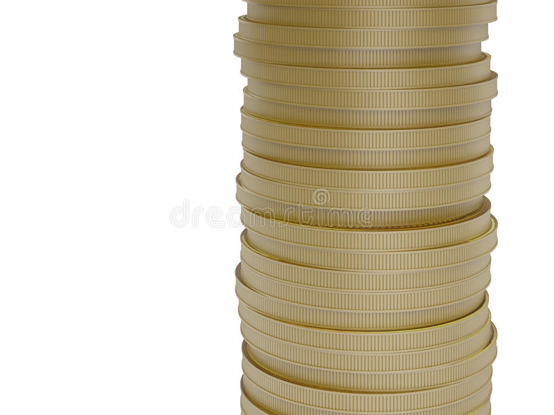 Χρυσά νομίσματα που απομονώνονται στο άσπρο υπόβαθρο απεικόνιση αποθεμάτων