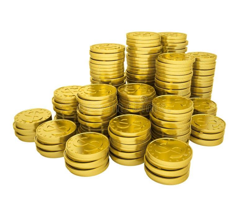 Χρυσά νομίσματα σωρών απεικόνιση αποθεμάτων