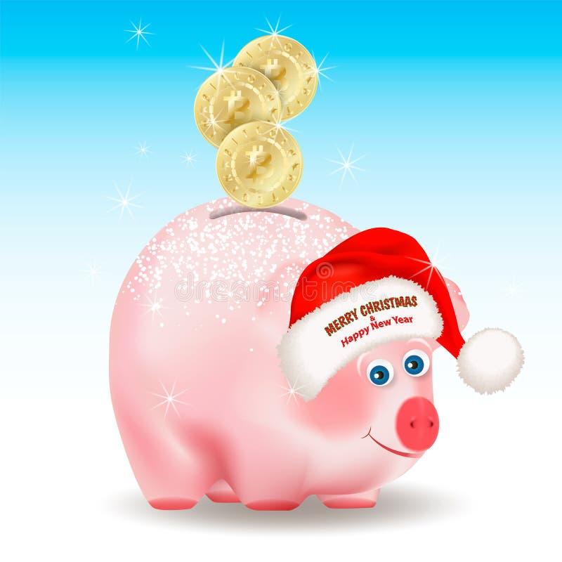 Χρυσά νομίσματα Bitcoin που περιέρχονται στην τράπεζα χοίρων χρημάτων Χαρούμενα Χριστούγεννα και συγχαρητήρια καλής χρονιάς στο κ ελεύθερη απεικόνιση δικαιώματος