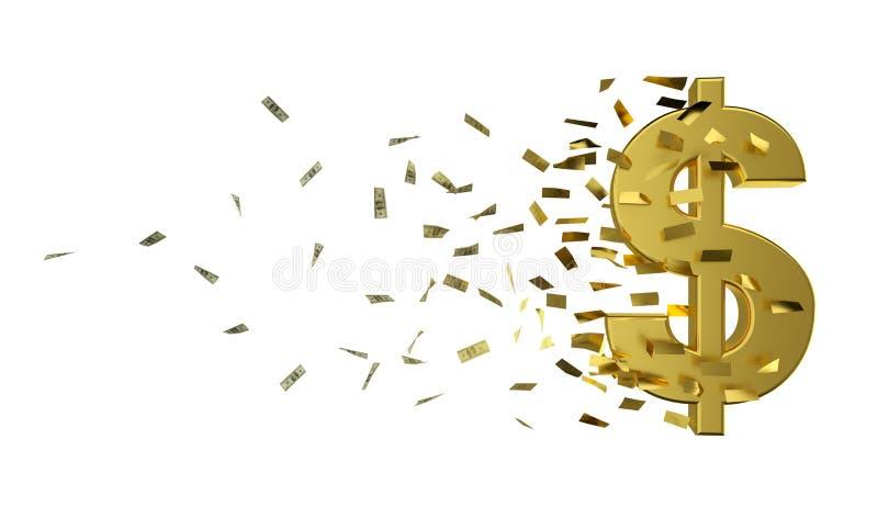 Χρυσά δολάριο και μετρητά ταχύτητας ελεύθερη απεικόνιση δικαιώματος