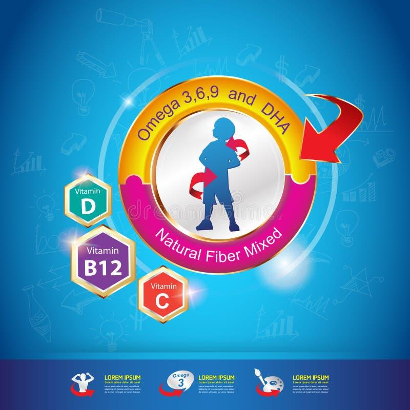 Χρυσά παιδιά λογότυπων έννοιας ασβεστίου και βιταμινών παιδιών ωμέγα στοκ φωτογραφία με δικαίωμα ελεύθερης χρήσης