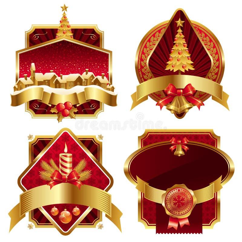 Χρυσά περίκομψα πλαίσια Χριστουγέννων διανυσματική απεικόνιση