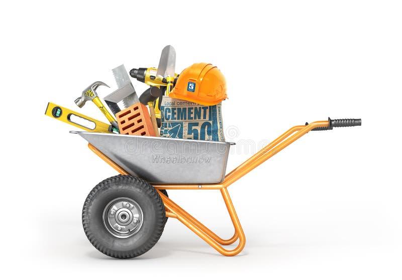 χρυσά πλήκτρα σπιτιών δάχτυλων κατασκευής έννοιας Εργαλεία κατασκευής wheelbarrow απεικόνιση αποθεμάτων