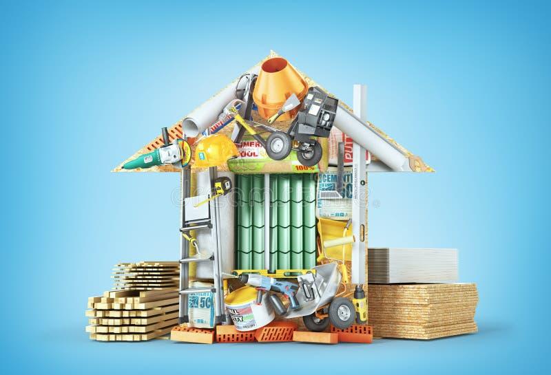 χρυσά πλήκτρα σπιτιών δάχτυλων κατασκευής έννοιας Σχεδιασμένη μορφή οικοδομικών υλικών σπιτιού διανυσματική απεικόνιση
