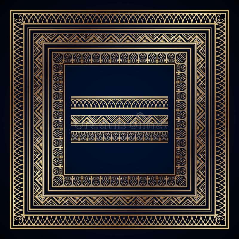 Χρυσά πλαίσια και σύνορα deco τέχνης στο σκούρο μπλε υπόβαθρο διανυσματική απεικόνιση