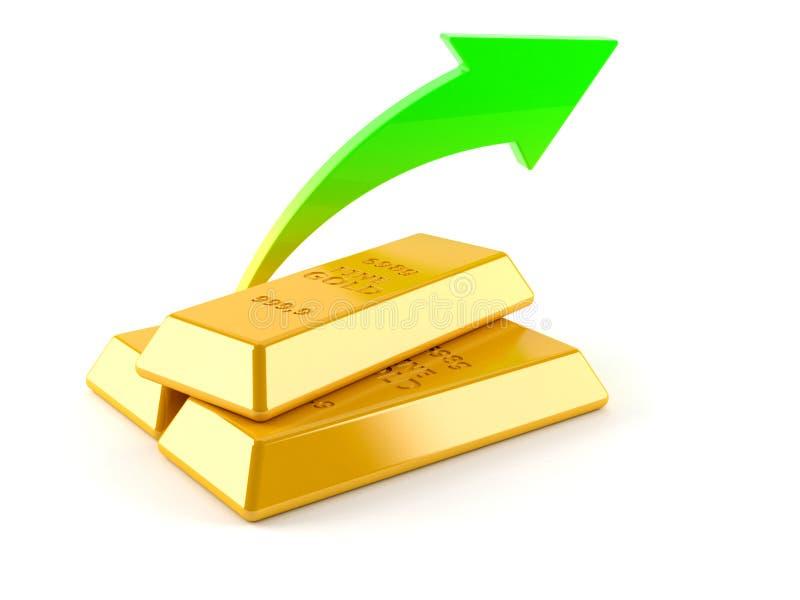 Χρυσά πλινθώματα με το βέλος απεικόνιση αποθεμάτων