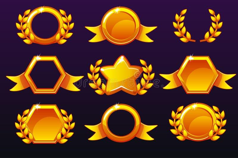 Χρυσά πρότυπα για τα βραβεία, που δημιουργούν τα εικονίδια για τα κινητά παιχνίδια απεικόνιση αποθεμάτων
