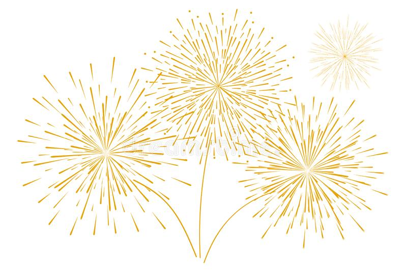 Χρυσά πυροτεχνήματα του εορταστικού νέου έτους που απομονώνονται σε ένα άσπρο υπόβαθρο επίσης corel σύρετε το διάνυσμα απεικόνιση ελεύθερη απεικόνιση δικαιώματος