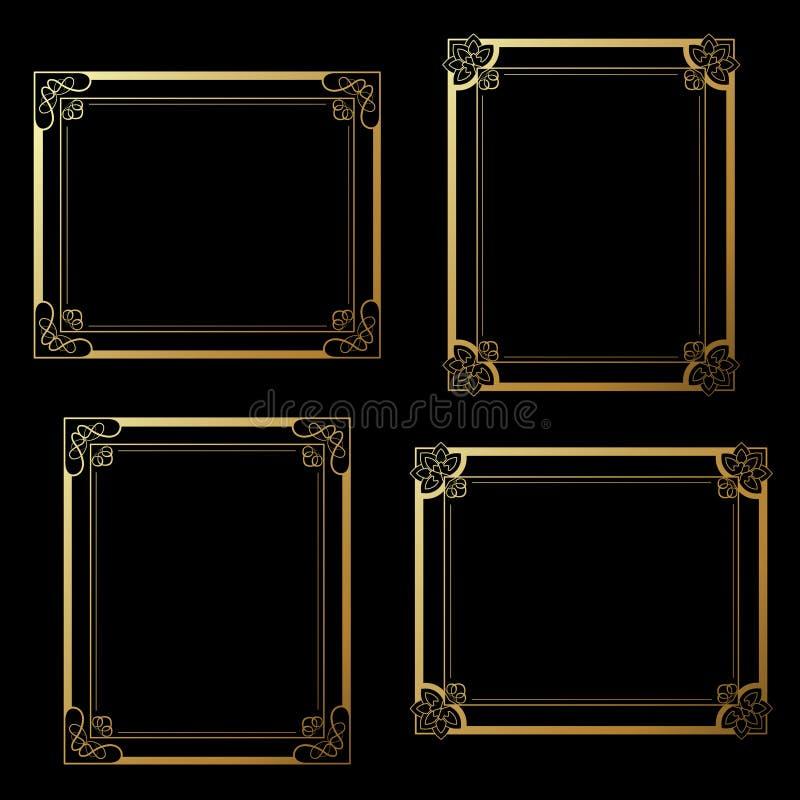 Χρυσά πλαίσια στο μαύρο υπόβαθρο Πλαίσια ορθογωνίων διακοσμήσεων για τη φωτογραφία σας σύνορα διακοσμητικά διανυσματική απεικόνιση