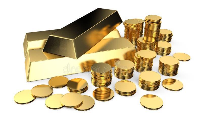 Χρυσά πλινθώματα και νομίσματα ελεύθερη απεικόνιση δικαιώματος