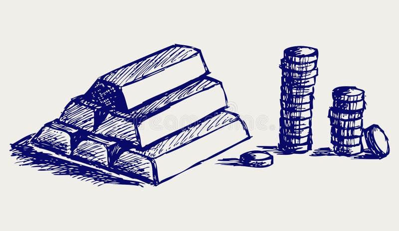 Χρυσά ράβδοι και νομίσματα απεικόνιση αποθεμάτων