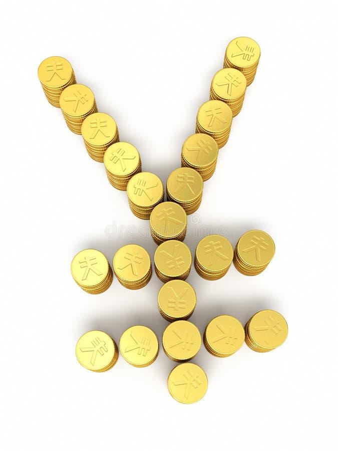 Χρυσά σημάδια γεν της Ιαπωνίας νομισμάτων απεικόνιση αποθεμάτων
