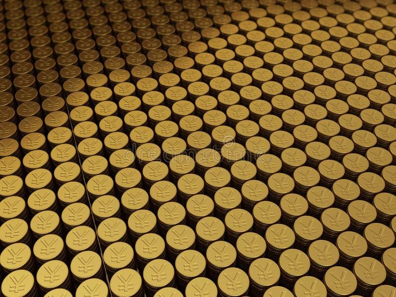 Χρυσά σημάδια γεν της Ιαπωνίας νομισμάτων ελεύθερη απεικόνιση δικαιώματος