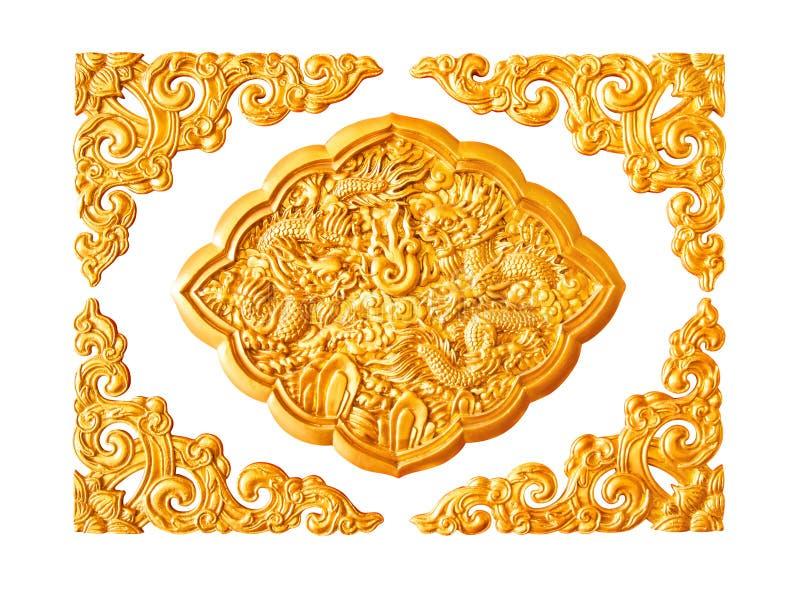 Χρυσά στοιχεία διακοσμήσεων στόκων δράκων που απομονώνονται στοκ φωτογραφία με δικαίωμα ελεύθερης χρήσης
