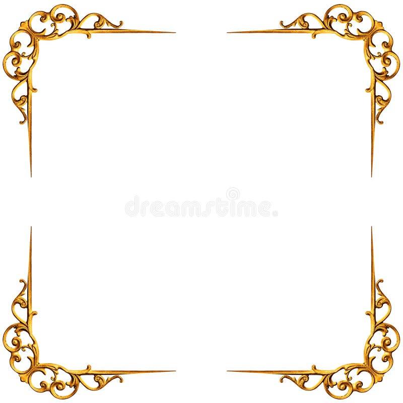 Χρυσά στοιχεία του χαρασμένου πλαισίου διανυσματική απεικόνιση