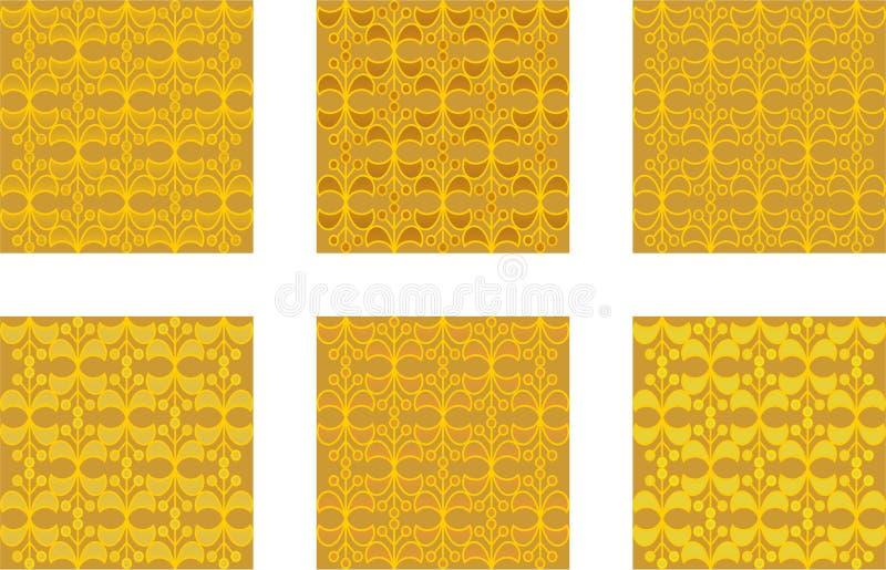 Χρυσά σχέδια στο σχέδιο μπροκάρ διανυσματική απεικόνιση
