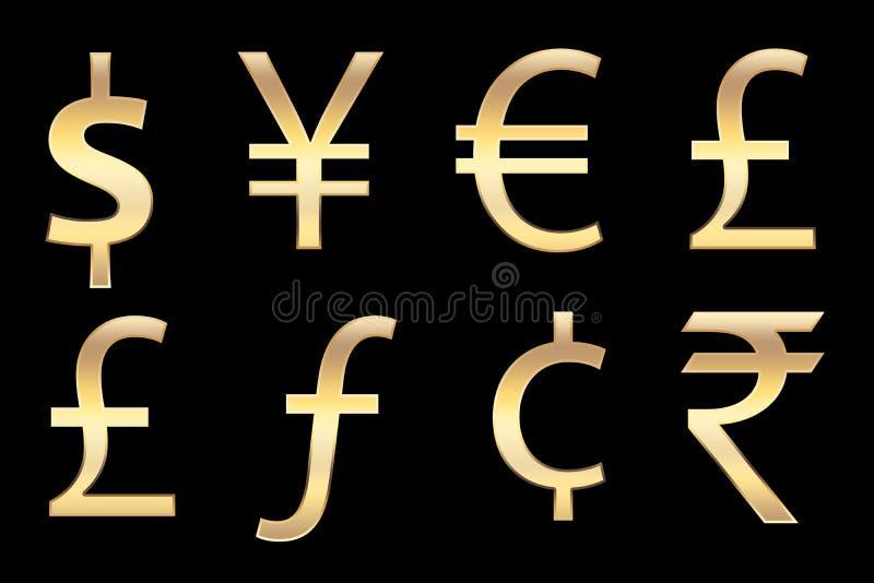 χρυσά σύμβολα χρημάτων απεικόνιση αποθεμάτων