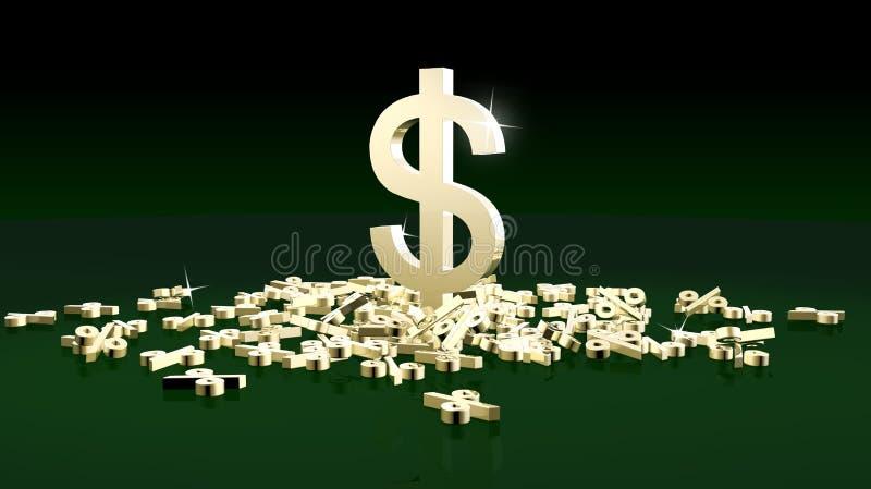 Χρυσά τοις εκατό. απεικόνιση αποθεμάτων