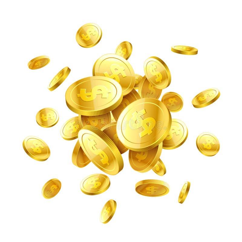 Χρυσά τρισδιάστατα νομίσματα απεικόνιση αποθεμάτων