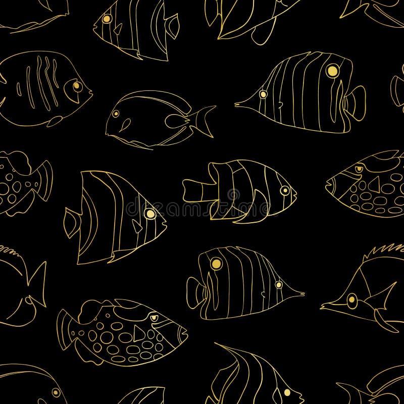 Χρυσά τροπικά ψάρια φύλλων αλουμινίου στο μαύρο άνευ ραφής διανυσματικό σχέδιο Κολύμβηση Butterflyfish, κλόουν Triggerfish, δεσπο διανυσματική απεικόνιση