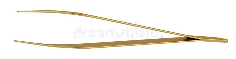 Χρυσά τσιμπιδάκια που απομονώνονται στο άσπρο υπόβαθρο r απεικόνιση αποθεμάτων