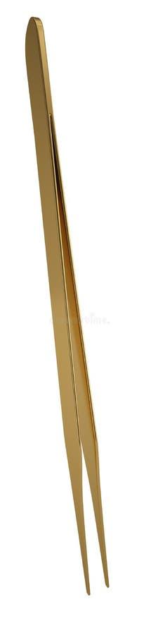 Χρυσά τσιμπιδάκια που απομονώνονται στο άσπρο υπόβαθρο r ελεύθερη απεικόνιση δικαιώματος