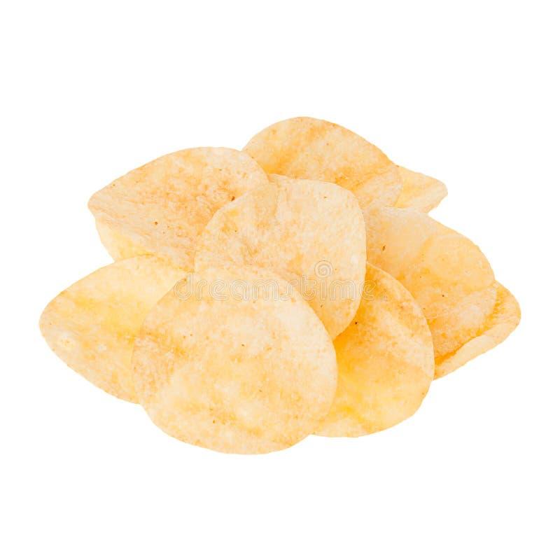 Χρυσά τσιπ πατατών σωρών που απομονώνονται στο άσπρο υπόβαθρο Πρότυπο γρήγορου φαγητού για τις επιλογές, διαφήμιση, κάλυψη στοκ φωτογραφίες με δικαίωμα ελεύθερης χρήσης