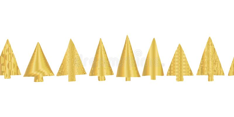 Χρυσά φύλλων αλουμινίου σύνορα σχεδίων χριστουγεννιάτικων δέντρων άνευ ραφής διανυσματικά Λαμπρά χρυσά χριστουγεννιάτικα δέντρα σ ελεύθερη απεικόνιση δικαιώματος