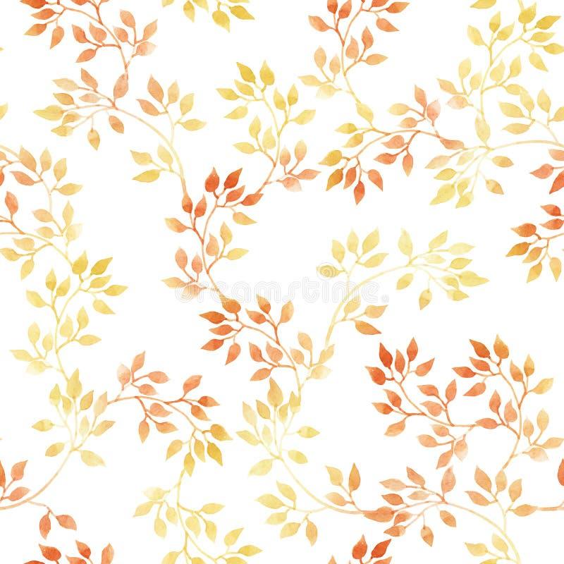 χρυσά φύλλα Άνευ ραφής σχέδιο φθινοπώρου Watercolour, χαριτωμένο σχέδιο ελεύθερη απεικόνιση δικαιώματος