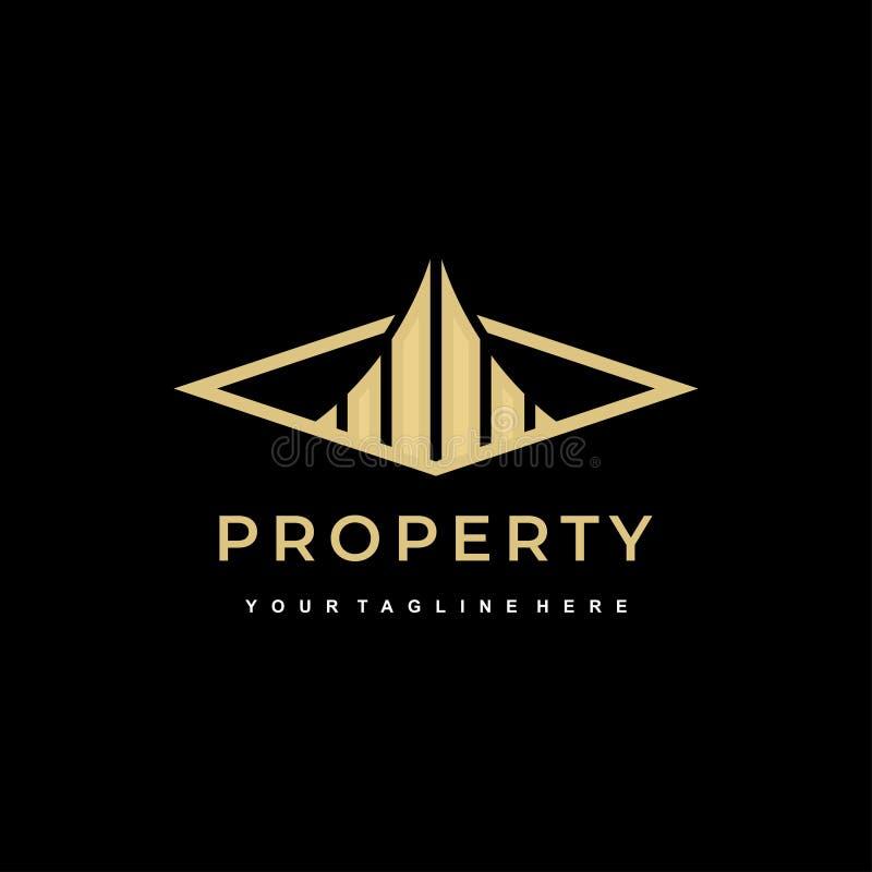 Χρυσά χρώματα προτύπων λογότυπων συμβόλων οικοδόμησης εικονιδίων ιδιοκτησίας στη σκοτεινή διανυσματική απεικόνιση υποβάθρου ελεύθερη απεικόνιση δικαιώματος