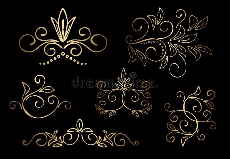 Χρυσά floral διανυσματικά στοιχεία σχεδίου - σύνολο απεικόνιση αποθεμάτων