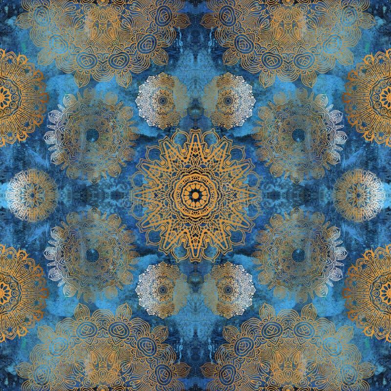 Χρυσά mandalas στον μπλε τοίχο στοκ εικόνα με δικαίωμα ελεύθερης χρήσης