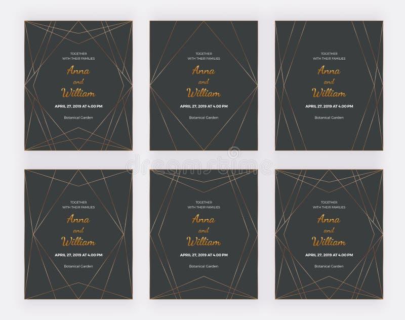 Χρυσά polygonal πλαίσια γραμμών στο μαύρο υπόβαθρο Κάρτες γεωμετρικού σχεδίου πολυτέλειας Καθιερώνοντα τη μόδα πρότυπα για το έμβ απεικόνιση αποθεμάτων