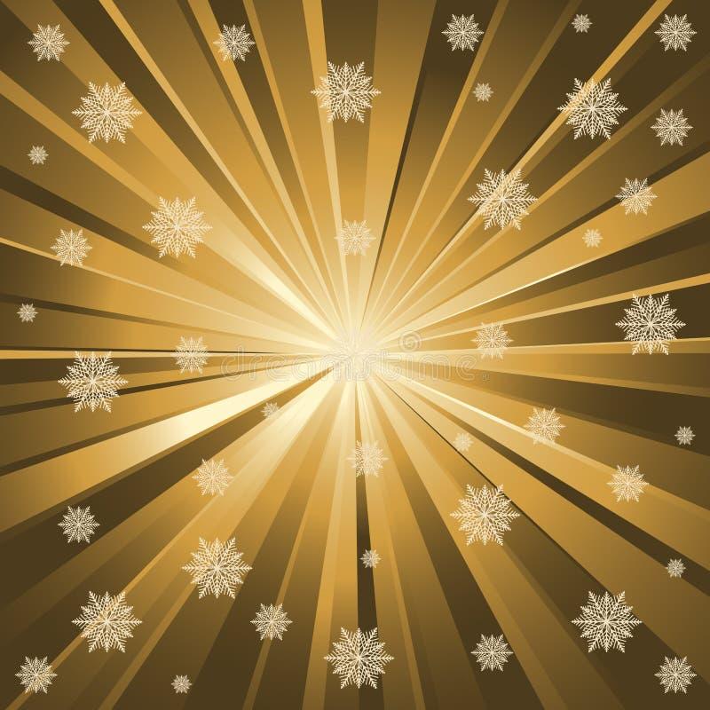 χρυσά snowflakes ακτίνων απεικόνιση αποθεμάτων