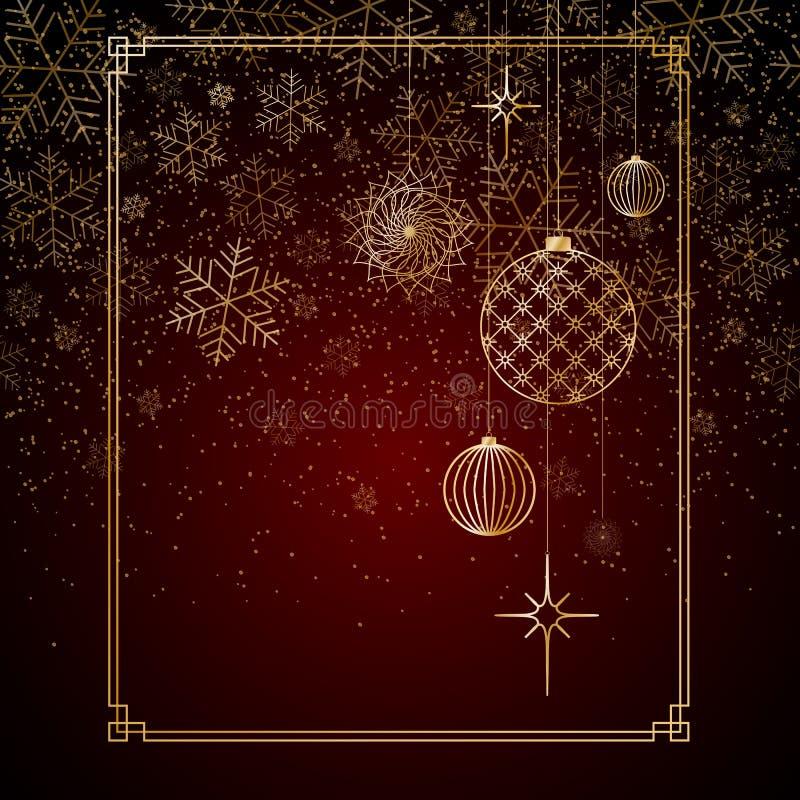 Χρυσά snowflakes αστεριών παιχνιδιών σφαιρών υποβάθρου Χριστουγέννων ακτινοβολούν σε ένα κόκκινο υπόβαθρο υποβάθρου Α για τα Χρισ διανυσματική απεικόνιση