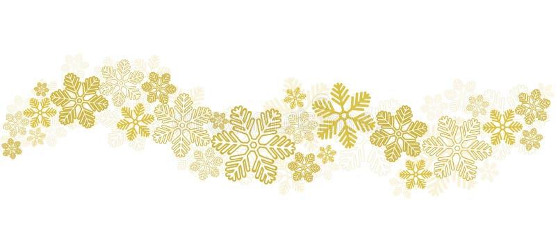 Χρυσά Snowflakes σύνορα στο λευκό, διανυσματική απεικόνιση αποθεμάτων απεικόνιση αποθεμάτων
