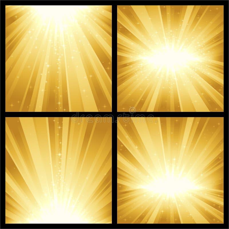 Χρυσές ελαφριές εκρήξεις ελεύθερη απεικόνιση δικαιώματος