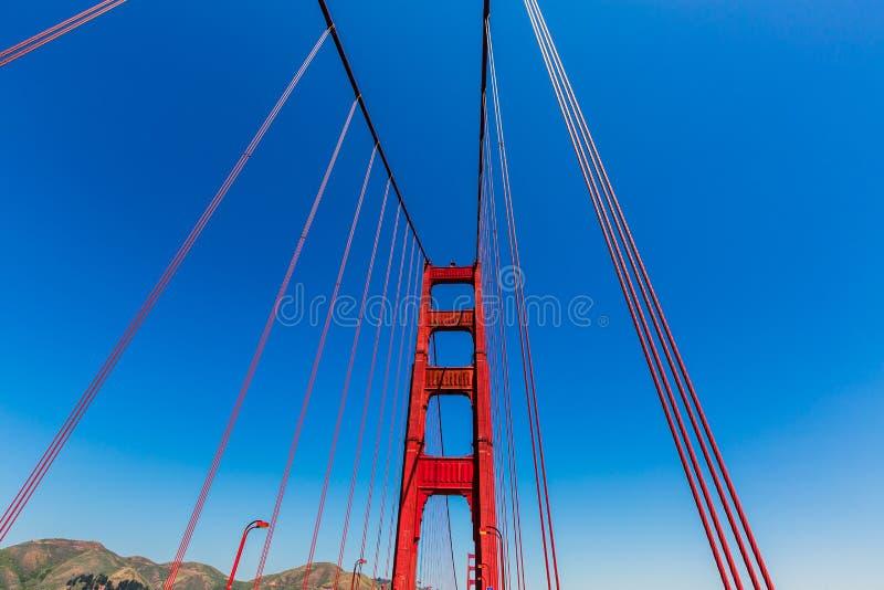 Χρυσές λεπτομέρειες γεφυρών πυλών στο Σαν Φρανσίσκο Καλιφόρνια στοκ φωτογραφία