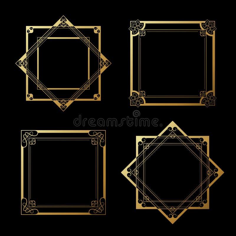 Χρυσές ετικέτες στο μαύρο υπόβαθρο Πλαίσια τετραγώνων και αστεριών σύνορα διακοσμητικά διανυσματική απεικόνιση