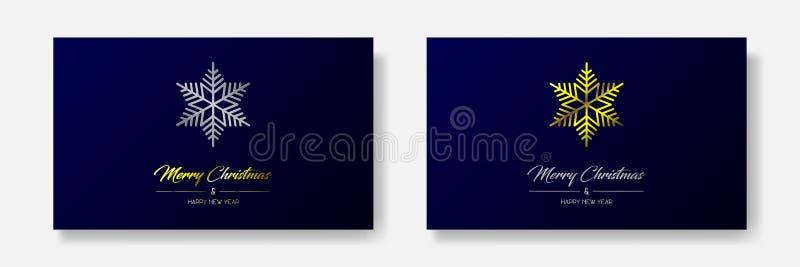 Χρυσές και ασημένιες κάρτες Χαρούμενα Χριστούγεννας με τη νιφάδα διανυσματική απεικόνιση