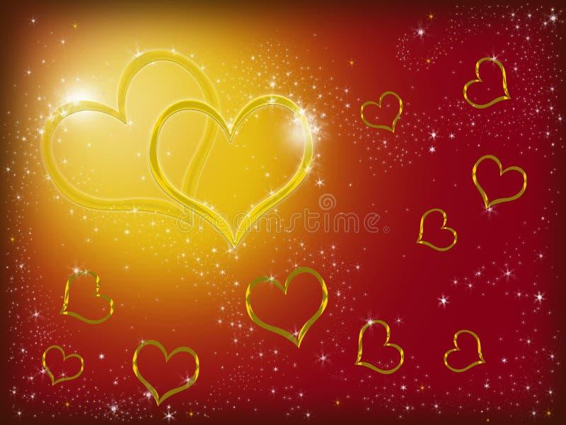χρυσές καρδιές δύο διανυσματική απεικόνιση