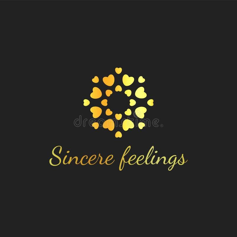 Χρυσές καρδιές στον κύκλο Σχέδιο κοσμημάτων ασφαλίστρου Χρυσό λογότυπο αγάπης Ειλικρινές πρότυπο εμβλημάτων αισθήματος διανυσματι διανυσματική απεικόνιση