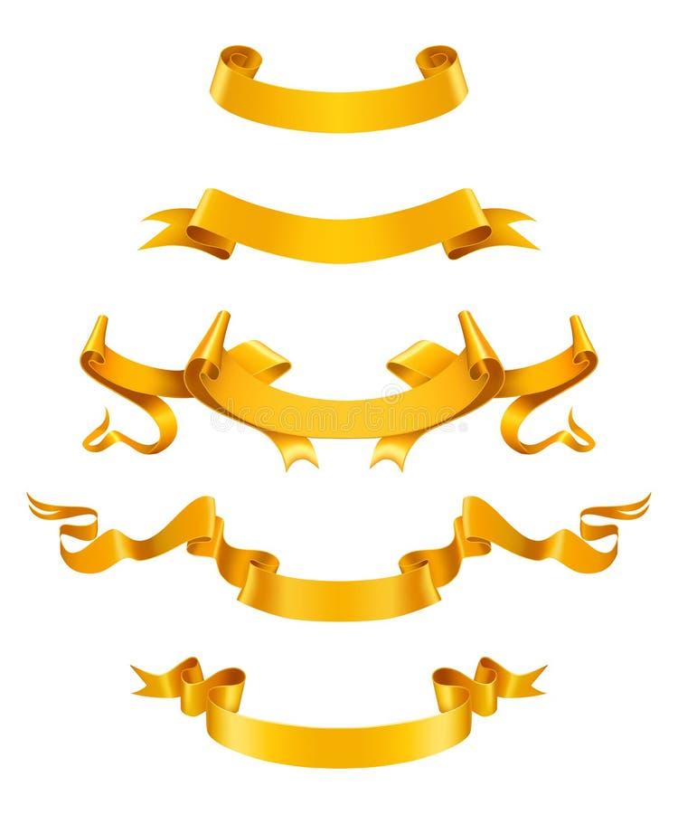 χρυσές κορδέλλες διανυσματική απεικόνιση