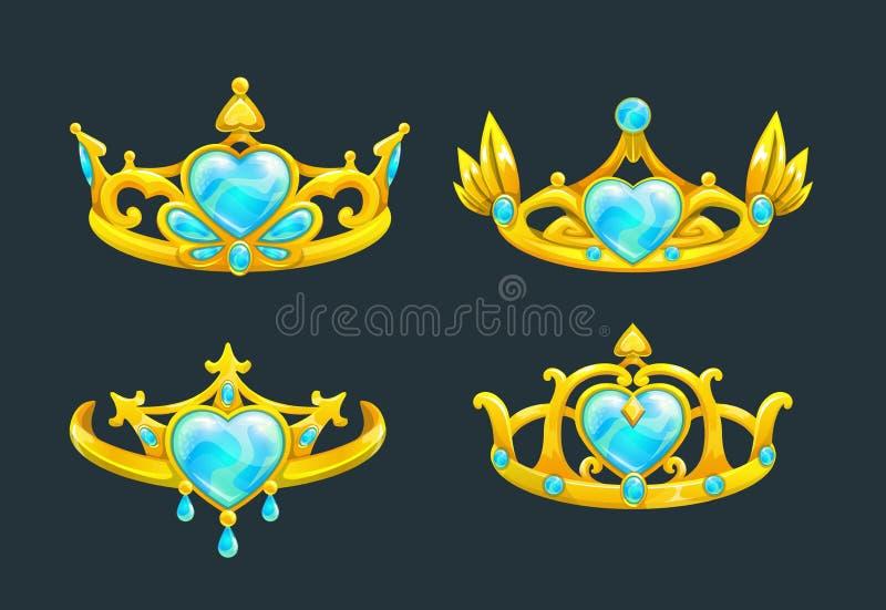Χρυσές κορώνες πριγκηπισσών κινούμενων σχεδίων καθορισμένες απεικόνιση αποθεμάτων