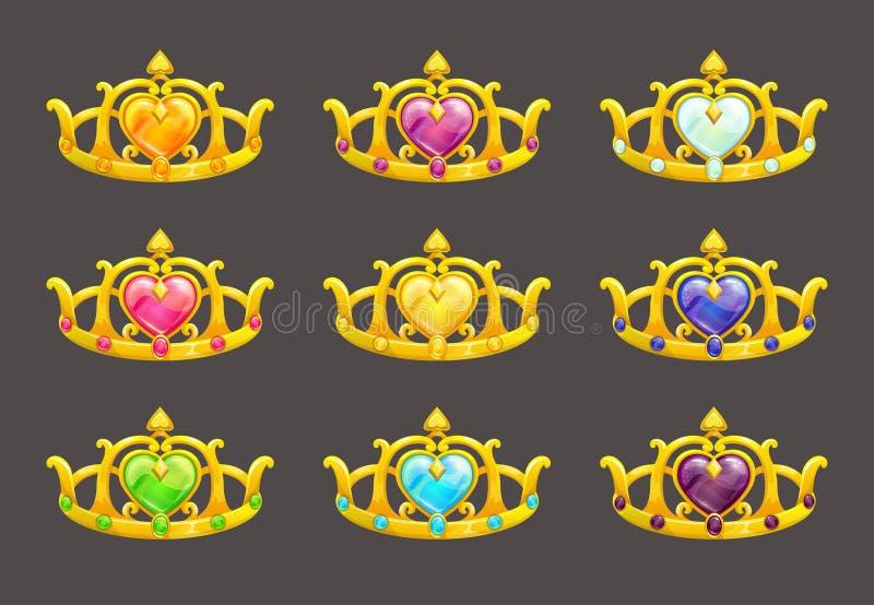 Χρυσές κορώνες πριγκηπισσών κινούμενων σχεδίων καθορισμένες ελεύθερη απεικόνιση δικαιώματος