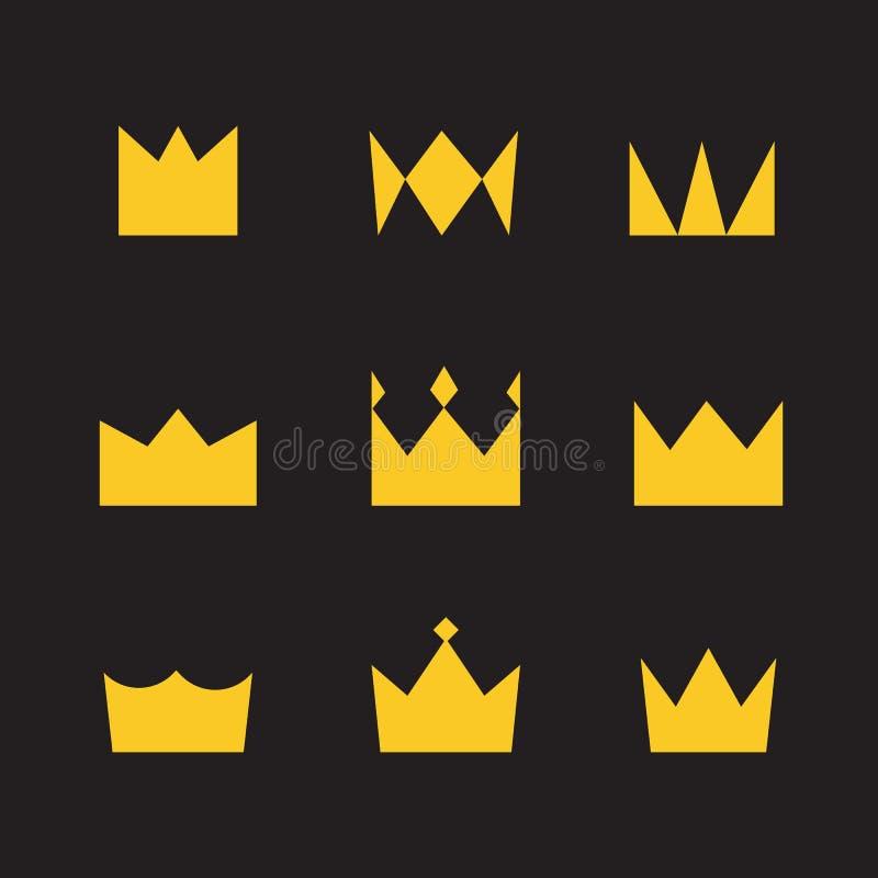 Χρυσές κορώνες σε ένα μαύρο απλό ύφος υποβάθρου διανυσματική απεικόνιση