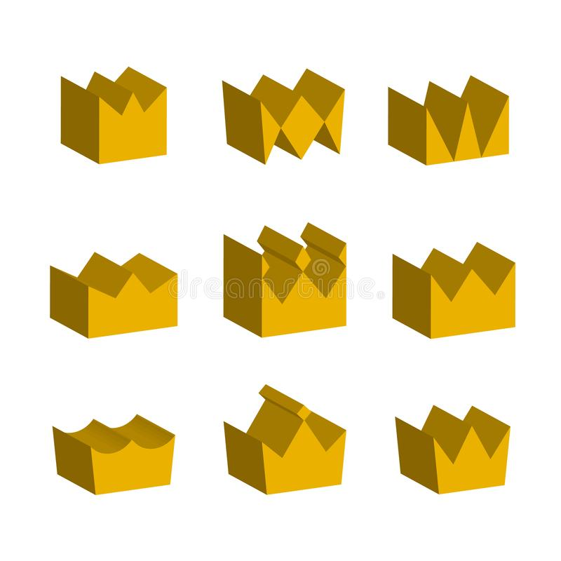 Χρυσές κορώνες τρισδιάστατες απομονωμένο στο λευκό υπόβαθρο διανυσματική απεικόνιση